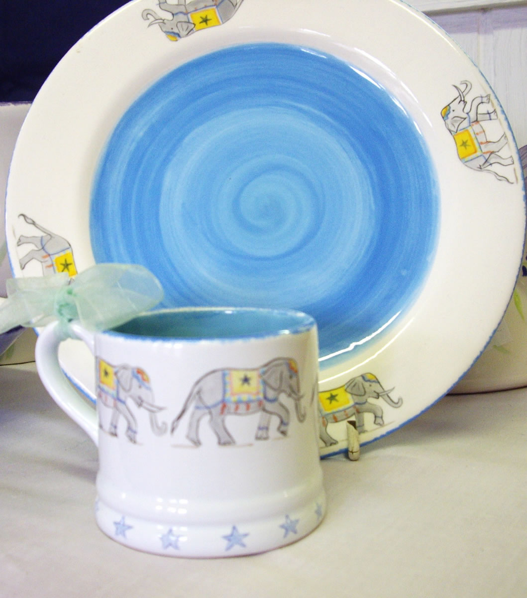 Plate and Small Earthenware Mug