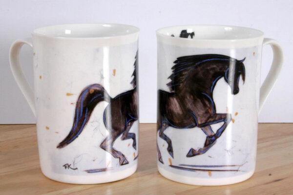 Black Stallion Horse Bone China Mug