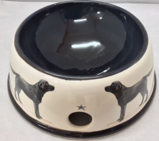 Large Pottery Dog Bowl