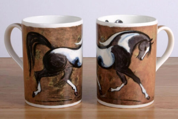 Black and White Horse Bone China Mug
