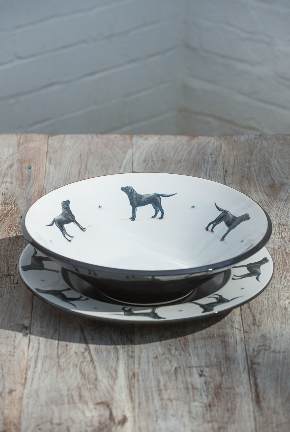 Black Labrador bowl and plate. From £95.