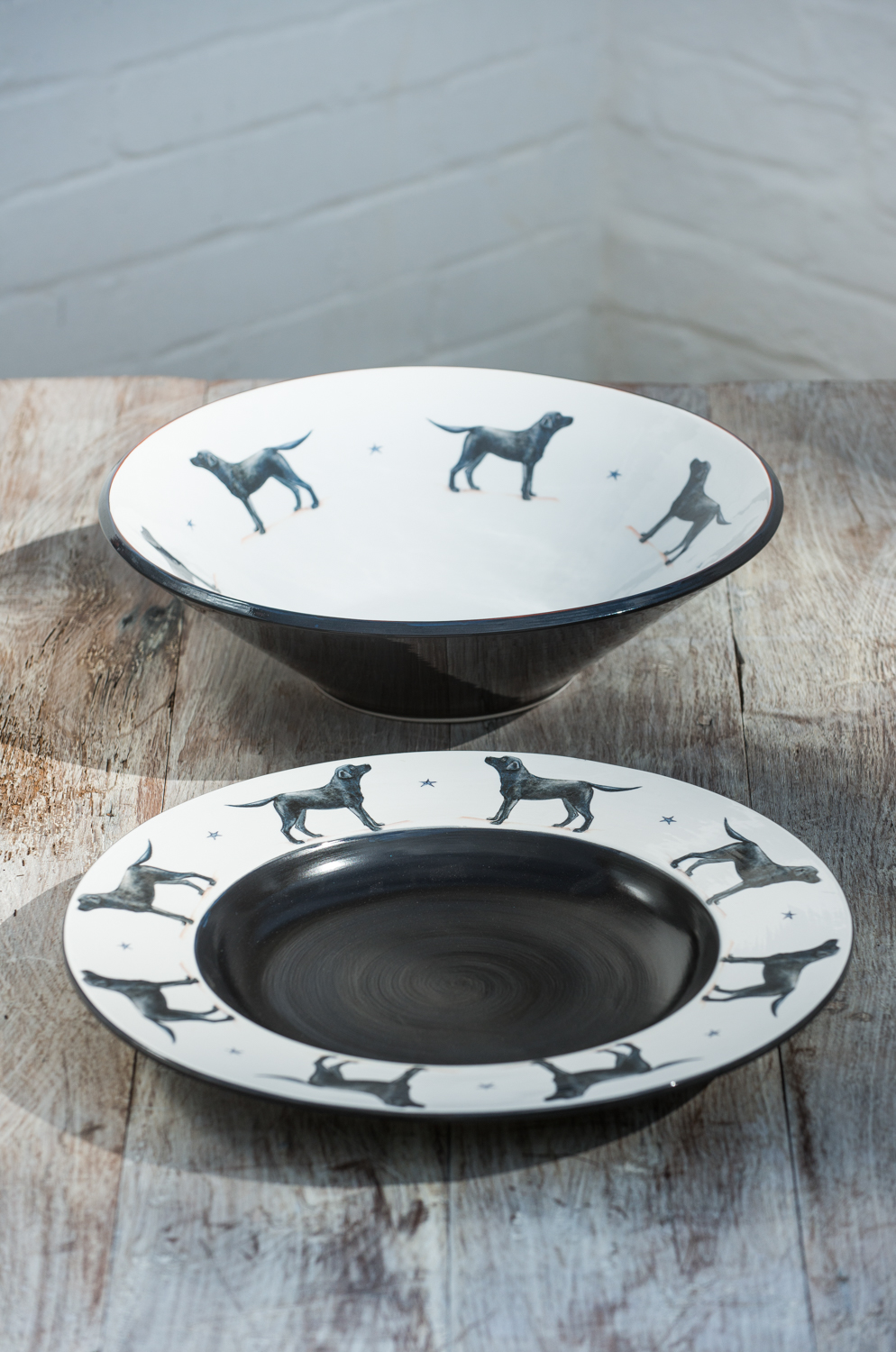 Black Labrador plate and bowl