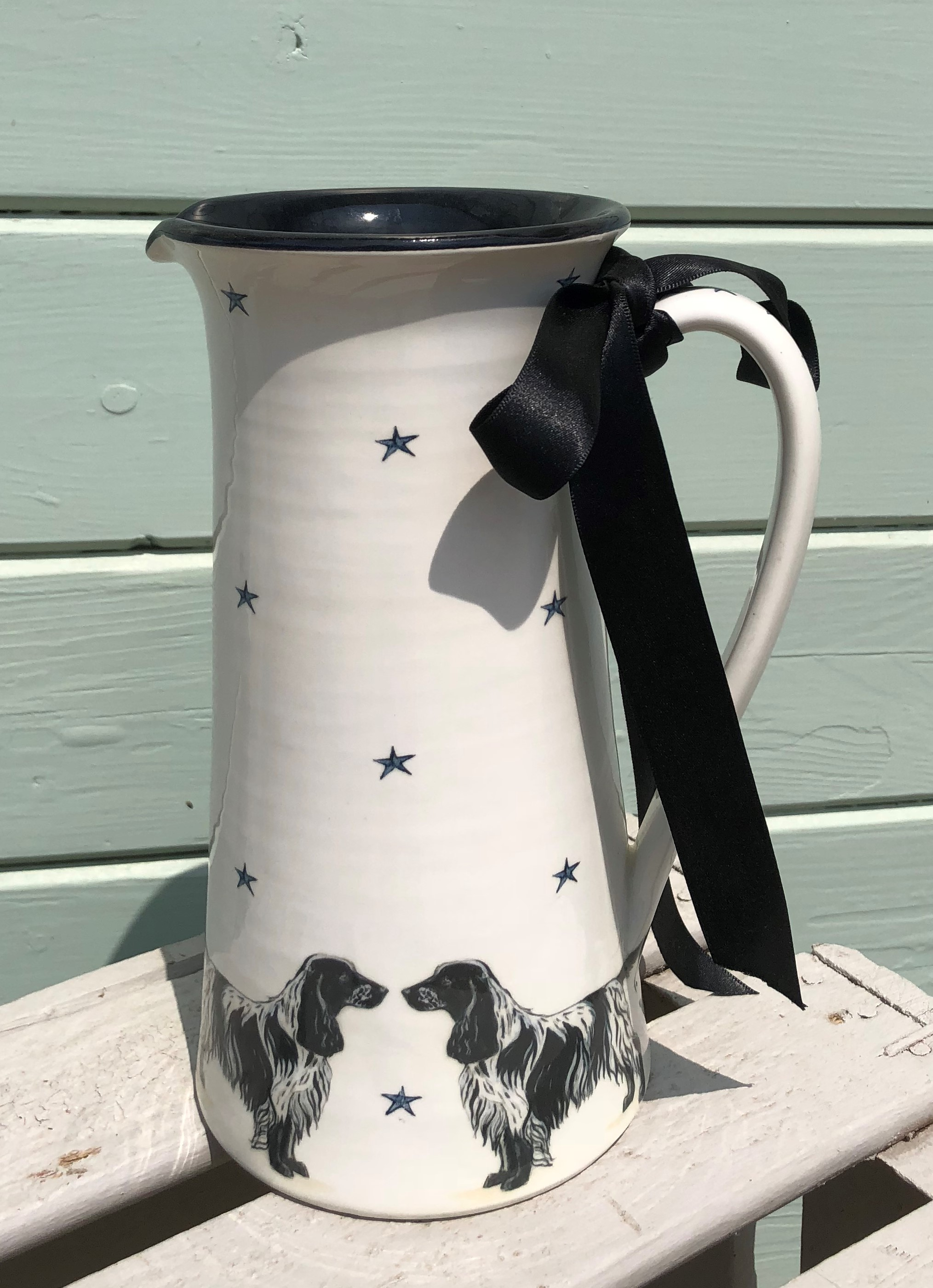 Tall Black and White Springer Jug £85