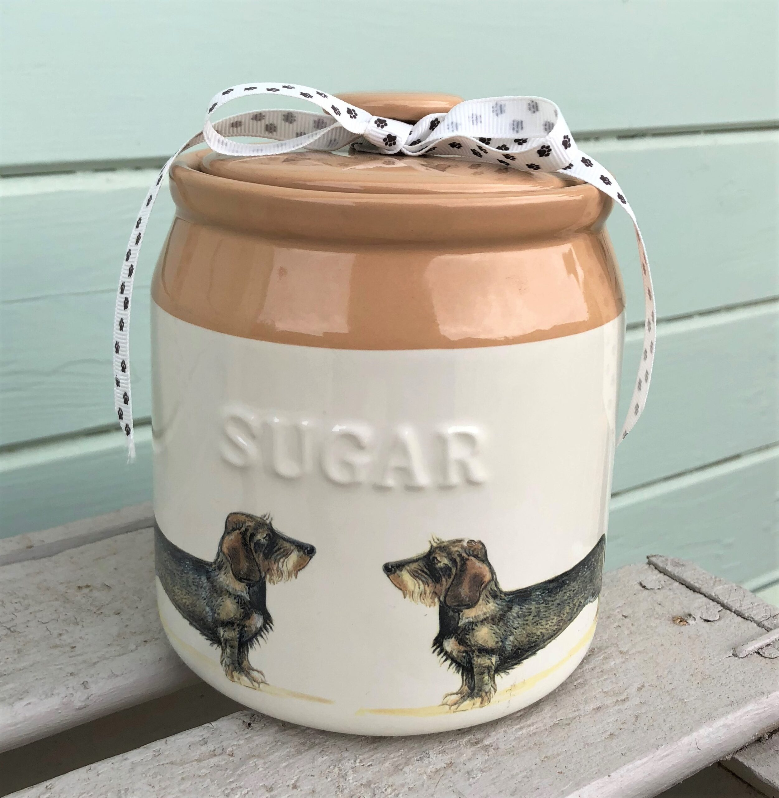 Wire Haired Dachshund Sugar Jar. £22.50 or why not make a set with Sugar, Coffee and Tea for £60