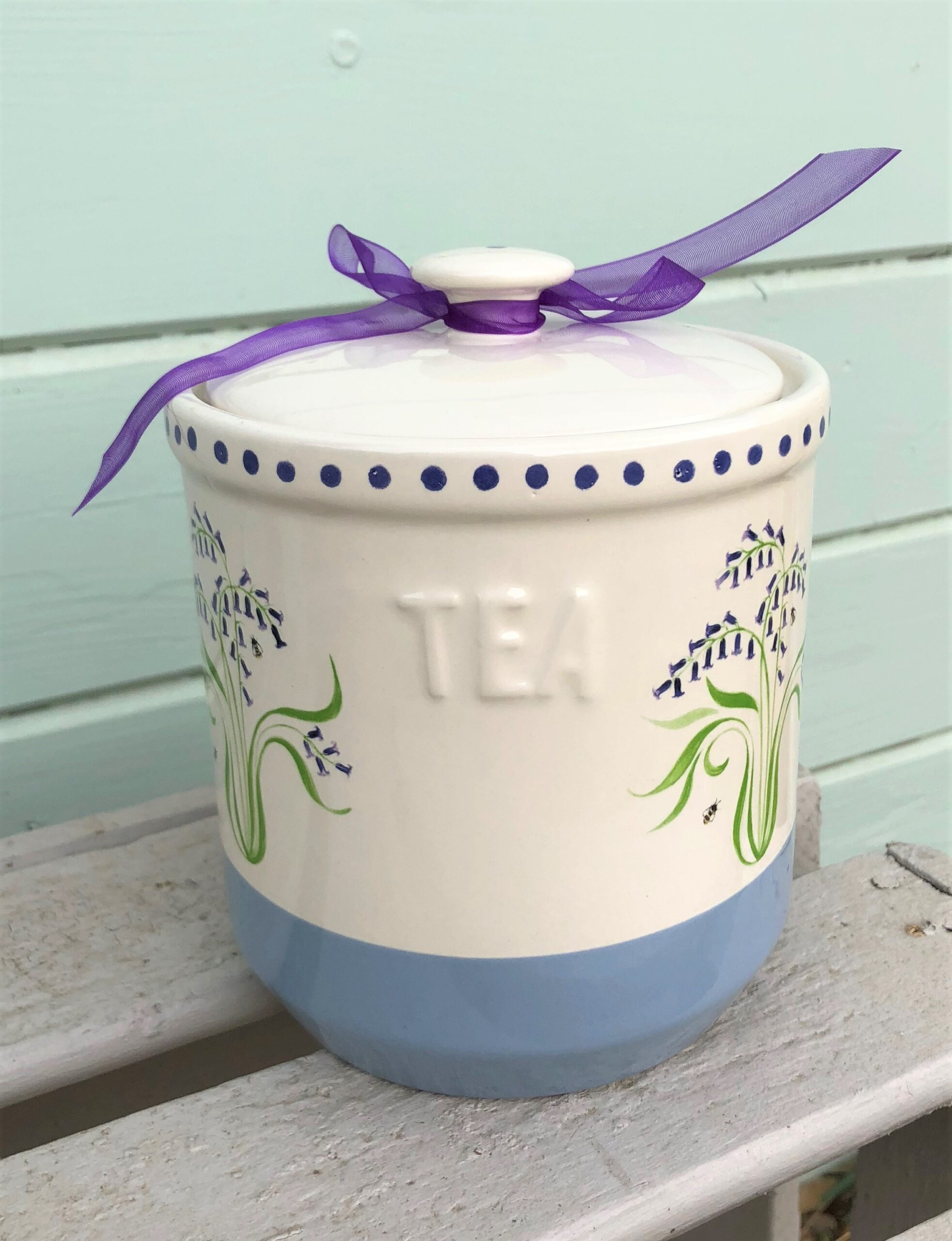 Bluebell Tea Jar. £22.50 or why not make a set with Sugar, Coffee and Tea for £60.