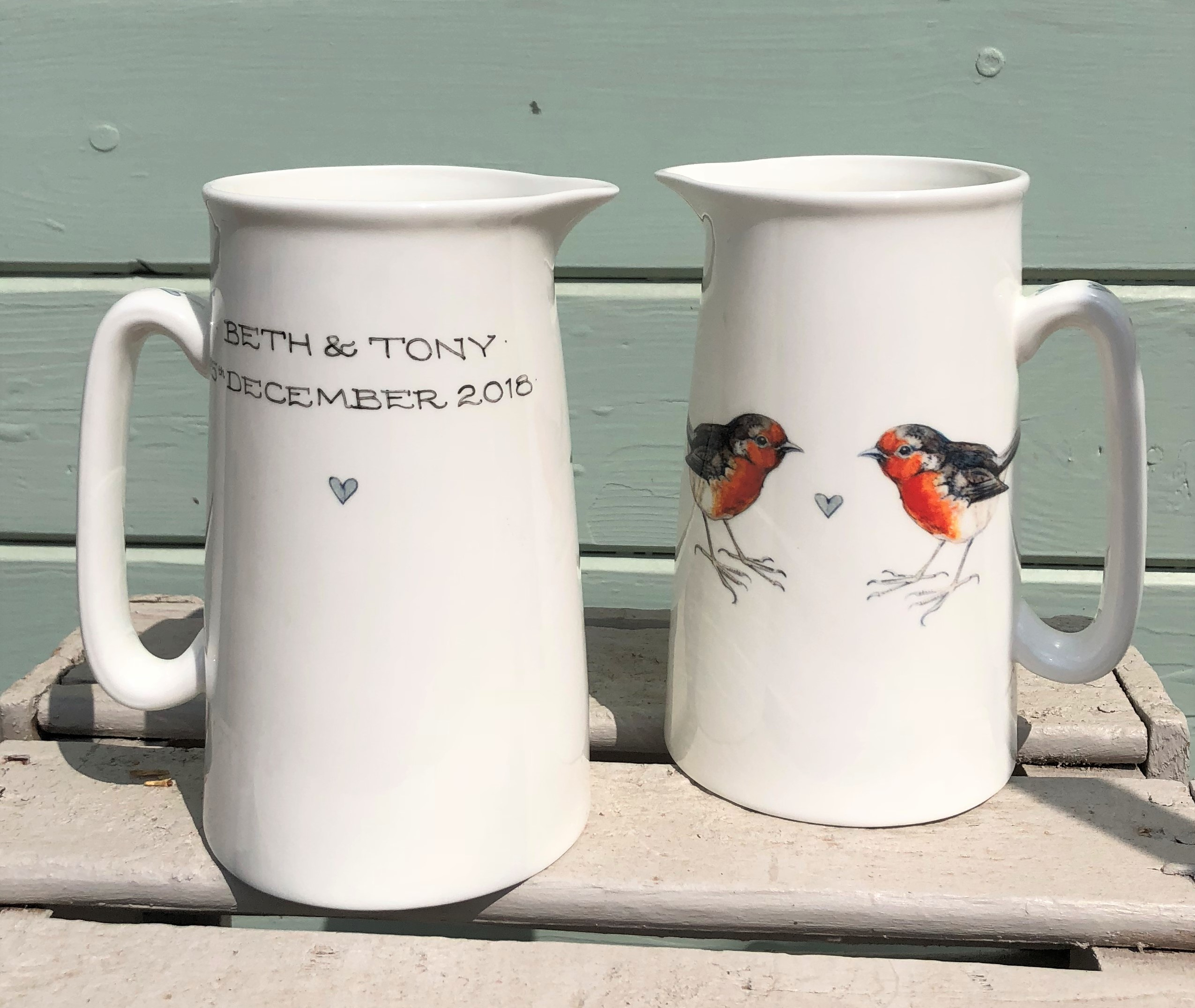 Robin 2 Pint Jug with hand painted inscription. From £24.50, other sizes available.