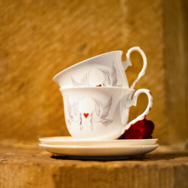 dove and heart tea cup