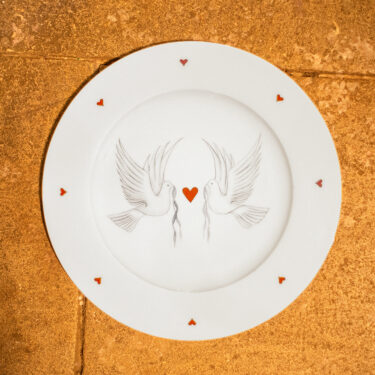 dove and heart plate