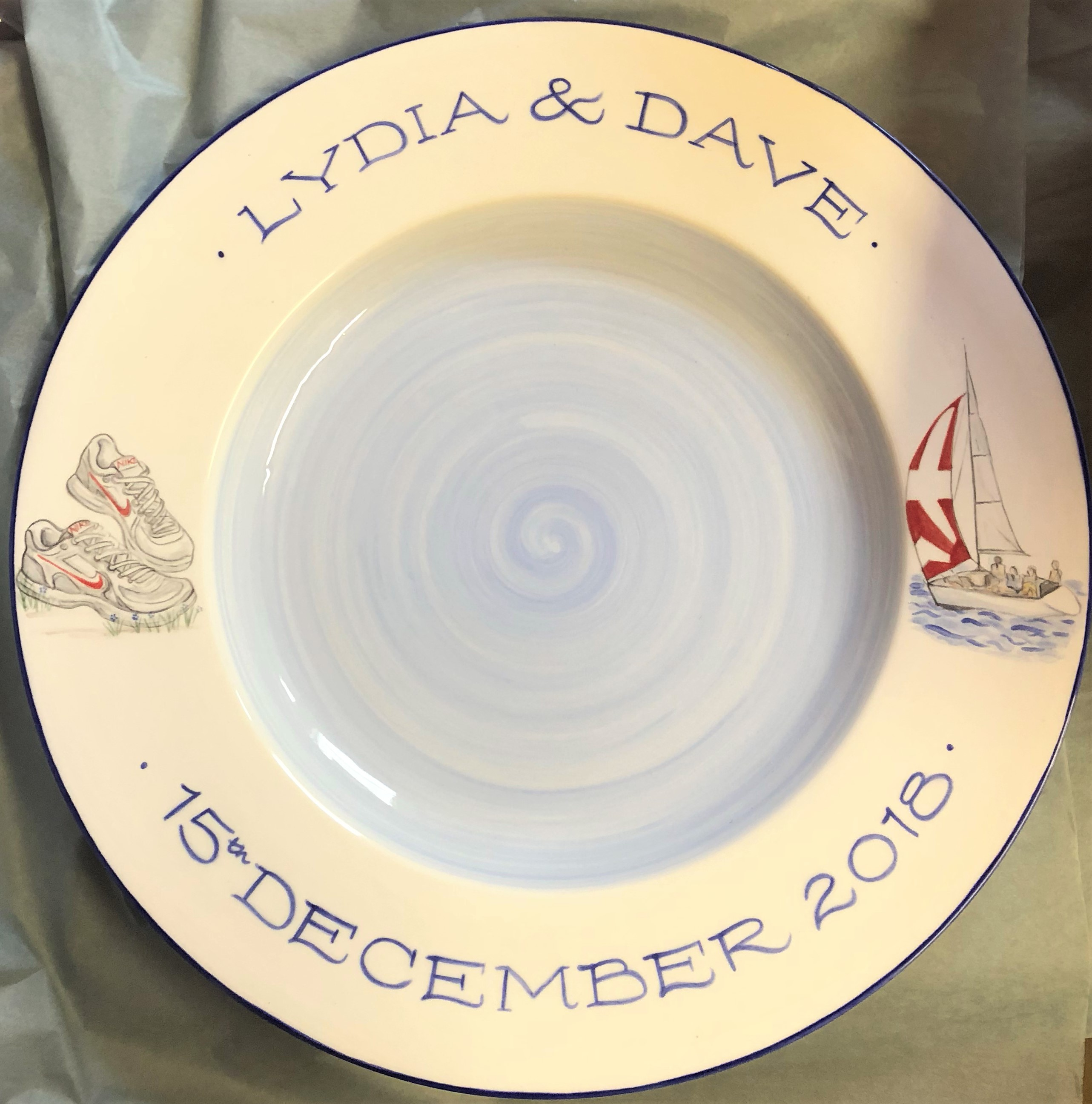 Wedding Signing Plate, inspired by the bride and groom's hobbies
