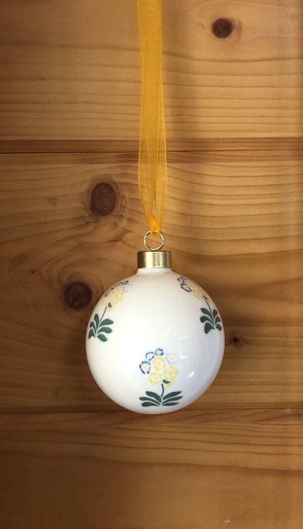 Yellow Auriculas Bone China Bauble Decoration