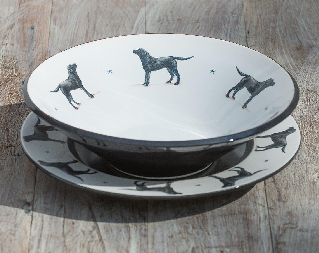 Labrador Large rimmed Dish £85, centerpiece bowl £95.