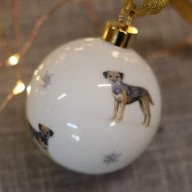 Border Terrier Bone China Dog Bauble Decoration