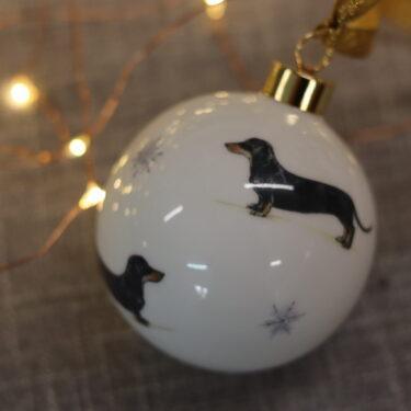 Smooth Coated Dachshund Bone China Dog Bauble Decoration