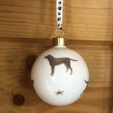 Chocolate Labrador Bone China Bauble Decoration