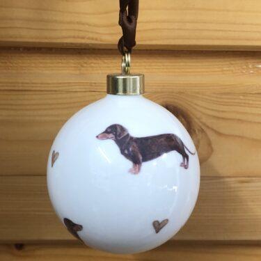 Brown Dachshund Bone China Dog Bauble Decoration