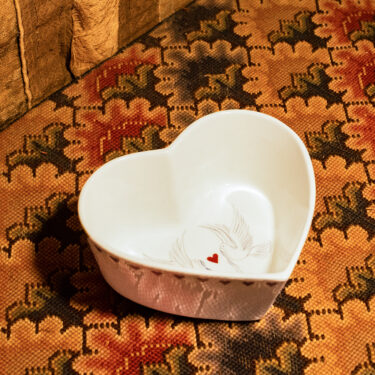 dove and heart bowl