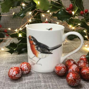 Robin and snowflake china mug