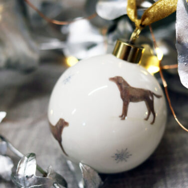 Chocolate Labrador Bone China Bauble Decoration with Snowflakes